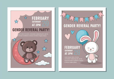 Gender party card. Rabbit with blue balloon. Teddy bear with moon and clouds Illusztráció