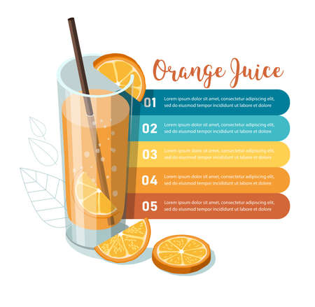 Glass of orange juice with sliced orange. Infographic template
