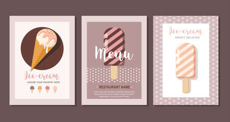 Ice cream set cards. Sweet food desserts. Set of flyer collection