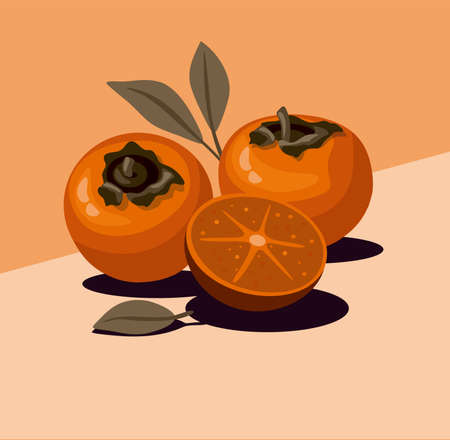 Fesh persimmon and slice with leaves. Vector