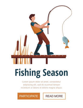Man caught a fish on the lake on a wooden pier. Fishing season Иллюстрация