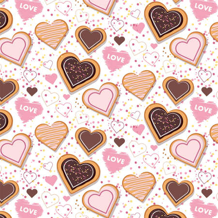 Heart shaped cookies pattern. Background for Valentines Day.