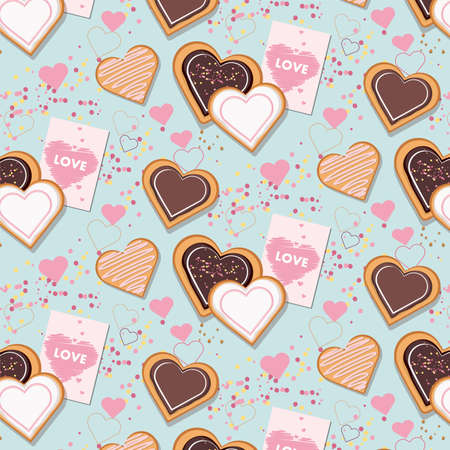 Heart shaped cookies pattern. Blue background for Valentines Day.