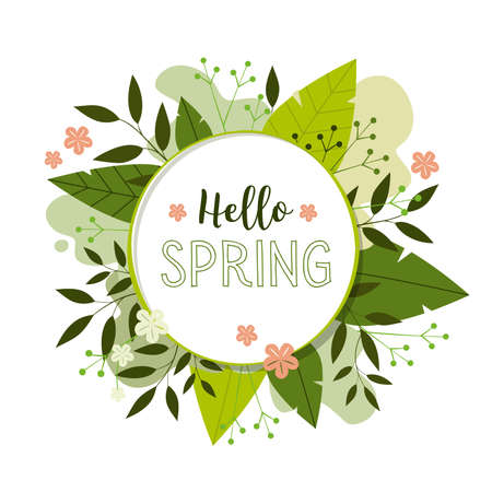 Spring flower background. Hello spring text in white circle frame Иллюстрация