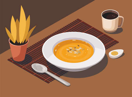 Pumpkin soup with spoon and cup coffee and house plant on kitchen table.