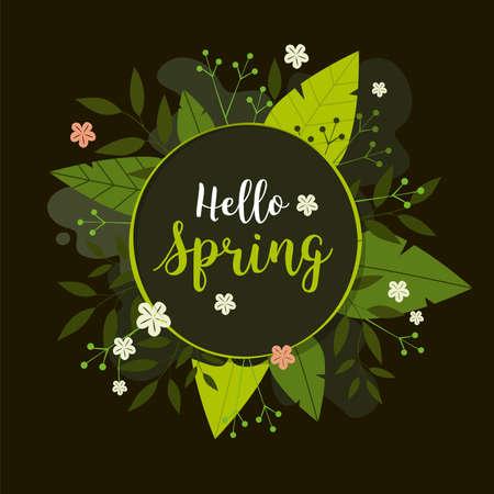 Spring flower background. Hello spring text in dark circle frame Иллюстрация