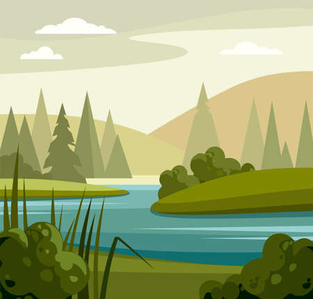 Summer landscape with lake and trees. Иллюстрация