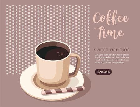 Black coffee in cup. Coffee shop or cafe Иллюстрация