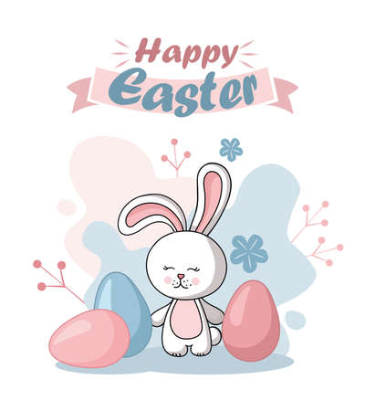 Easter rabbit, easter Bunny. Happy Easter card