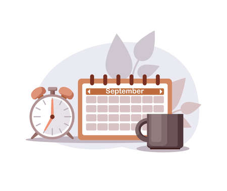 Calendar, alarm clock and mug for planning of the morning, time management
