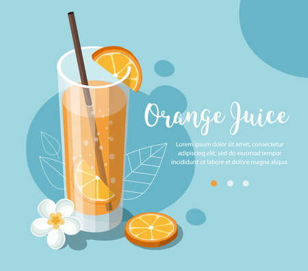 Glass of orange juice with sliced orange and tropical flower Иллюстрация