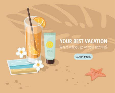 Glass of orange juice and beach accessories on sandy beach Иллюстрация