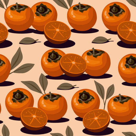 Persimmon and slice with leaves pattern background. Illusztráció