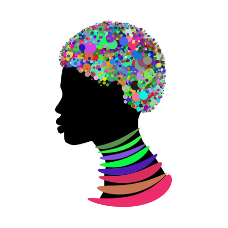 woman silhouette isolated on a white background with colourful head and necklace.