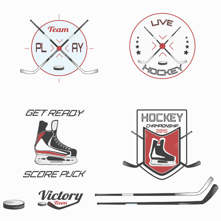 the attribute: illustration,  hockey attribute, sport icon types isolated on a white background.
