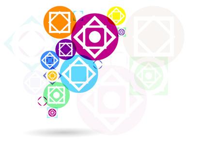 illustration, colored geometric elements background.