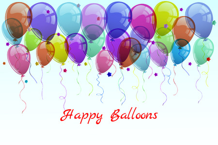 illustration,greeting card, colored balloons and stars. Çizim