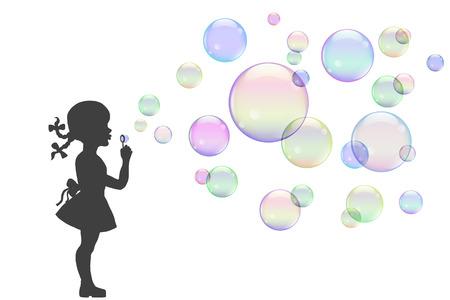 kinderen: illustratie, meisje spelen met kleurrijke zeepbellen.
