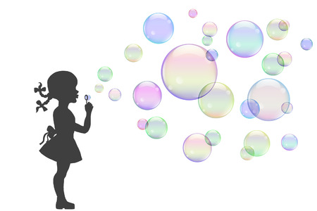 silueta niño: ilustración, niña jugando con pompas de jabón de colores. Vectores