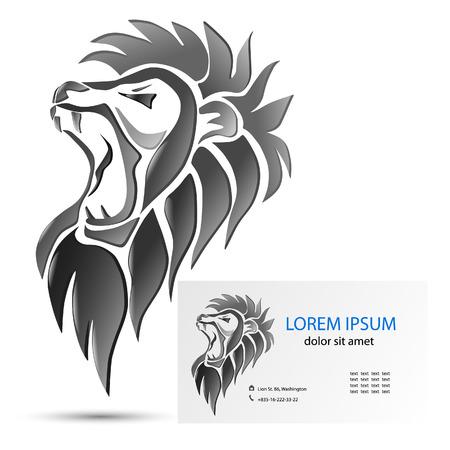 animal head: illustration, roaring lion head.