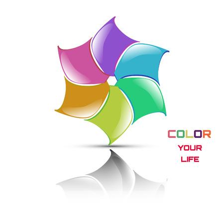 illustration, colored flower.