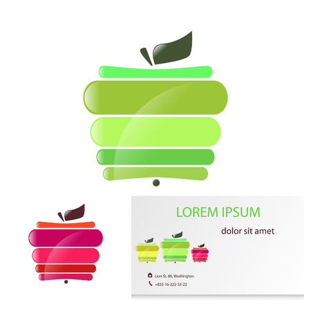 Vector illustration, colored abstract apple card.