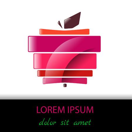 illustration, colored abstract apple. Çizim