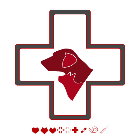 Vector illustration, veterinarian icon with cat and dog.