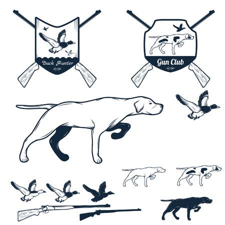 Vector set of vintage hunting labels and design elements.