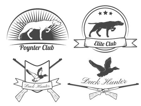 Vector conjunto de etiquetas de caza del vintage y elementos de diseño.