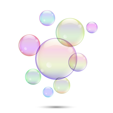 Vector illustration, colored soap bubbles isolated on a white background. Çizim