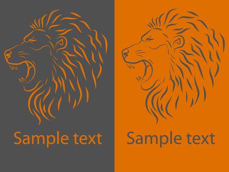 Vector illustration, roaring lion head.