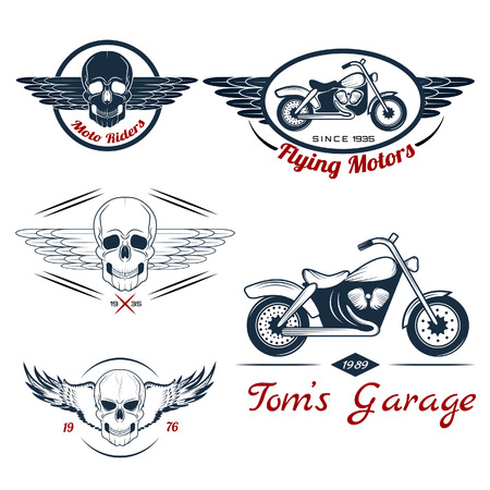Vector set of  motorcycle labels, badges and design elements