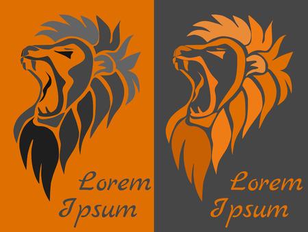 roaring: Vector illustration, roaring lion head.