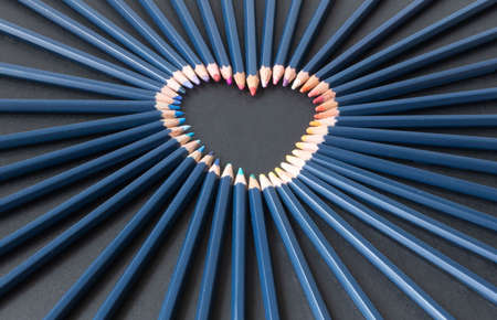 heart shape of colored pencils