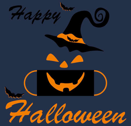 Black protective mask with an orange mouth and orange eyes and a hat on an Indigo background.Happy Halloween lettering on Indigo background. The concept of Halloween and covid-19.