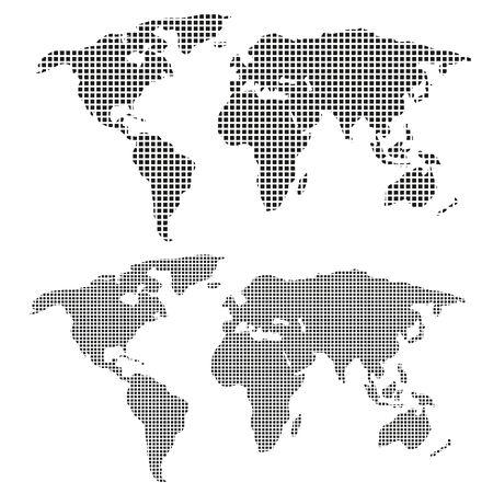 Pixelkarte der Welt. isoliert auf weißem Hintergrund. Vektorkarte der Welt