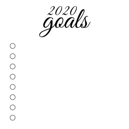 Illustration of new year 2020 goals list. Happy New Year.