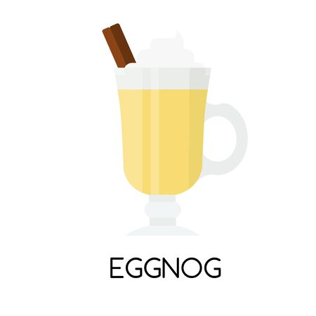 Eggnog in flat style. Holiday and Christmas. Color icon. Vector ghoghol moghol 向量圖像