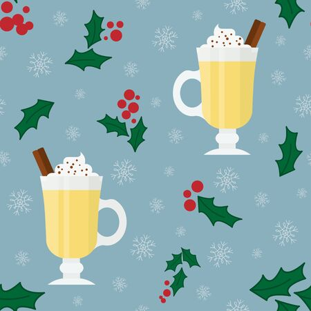 Pattern. Eggnog in flat style. Holidays and Christmas. Vector gogol mogul