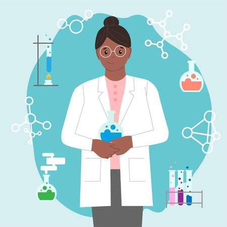 Dark-skinned female chemist with a test tube. International Day of Women and Girls in Science. Woman chemist. Woman scientist. Illustration with the ability to change colors. Flat style. Set icon for the chemist.