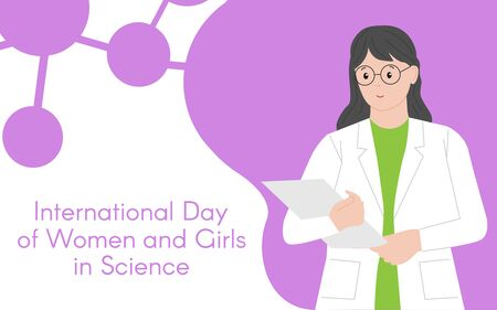 Woman chemist with a folder. International Day of Women and Girls in Science. Woman chemist. Woman scientist. Illustration. Flat style. Abstract isolated background