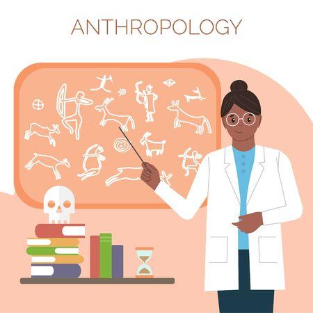 Antropóloga. Día Internacional de la Mujer y la Niña en la Ciencia. Mujer científica. Ilustración vectorial. Estilo plano. Aislado. Fondo blanco