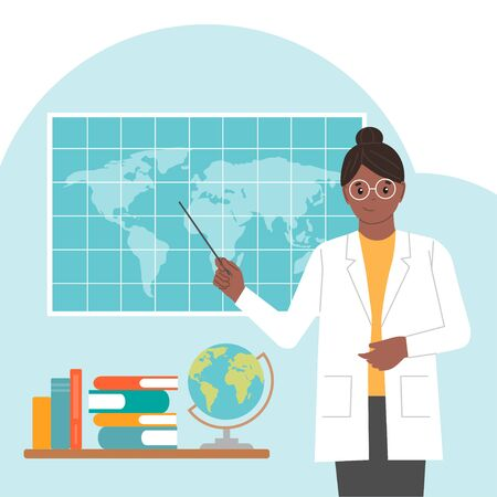 Female geographer. International Day of Women and Girls in Science. Woman scientist. Vector illustration. Flat style. Isolated. White background