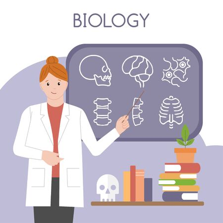 Female biologist. International Day of Women and Girls in Science. Woman scientist. Vector illustration. Flat style. Isolated. White background Archivio Fotografico - 134948597