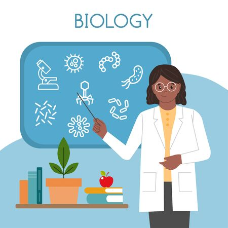 Biologin. Internationaler Tag der Frauen und Mädchen in der Wissenschaft. Wissenschaftlerin. Vektor-Illustration. Flacher Stil. Isoliert. weißer Hintergrund Vektorgrafik