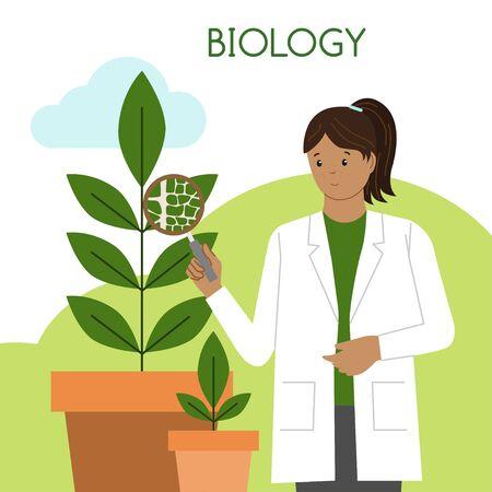 Biologin. Internationaler Tag der Frauen und Mädchen in der Wissenschaft. Wissenschaftlerin. Vektor-Illustration. Flacher Stil. Isoliert. weißer Hintergrund