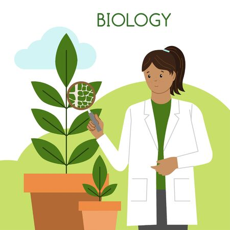 Female biologist. International Day of Women and Girls in Science. Woman scientist. Vector illustration. Flat style. Isolated. White background