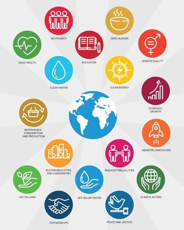 Icons set global business, economics and marketing. Linear style icons. Sustainable Development Goals. Isolated Stock Illustratie