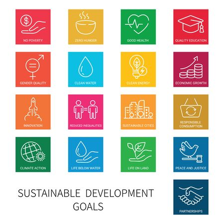 Set of square colored icons of global business, economics and marketing. Linear style icons. Sustainable Development Goals. Isolated 向量圖像